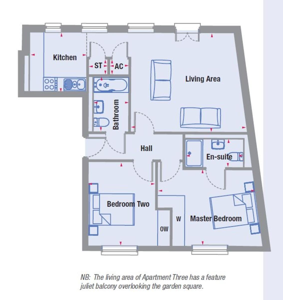 Abbotsbury Court Apt 3, Dickens Heath Floorplan