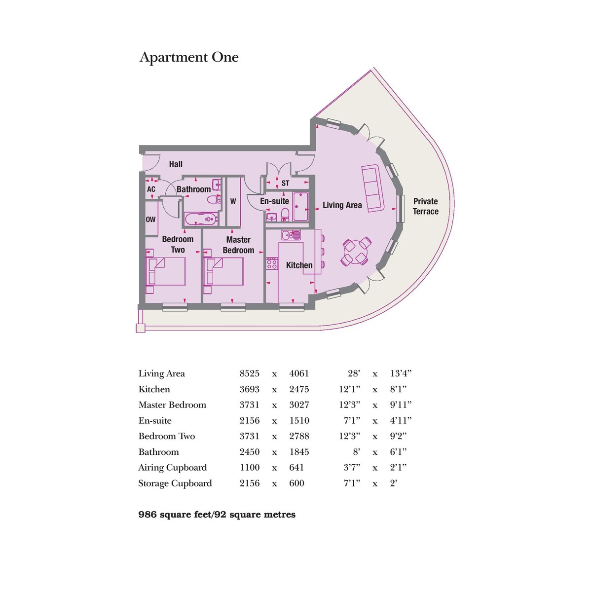 Garden Square East, Boughton Court, Apt 1 & Apt 3, Dickens Heath Floorplan