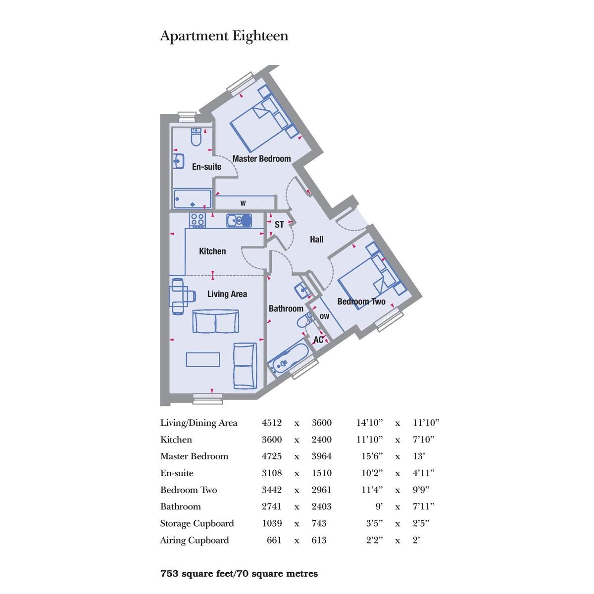 Garden Square East, Abbotsbury Court Apt 18, 20 & 22, Dickens Heath Floorplan
