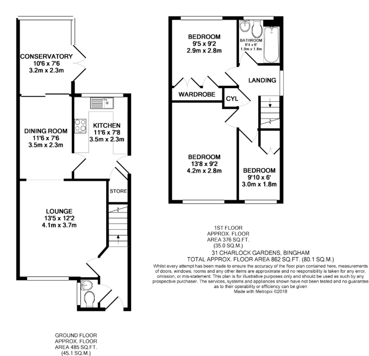 Charlock Gardens, Bingham, NG13 8UH  Floorplan